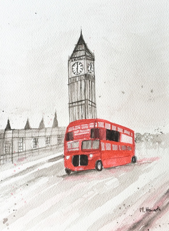 London red bus painting