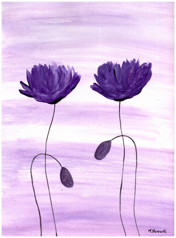 Purple poppies painting