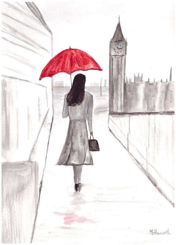 Red umbrella London girl