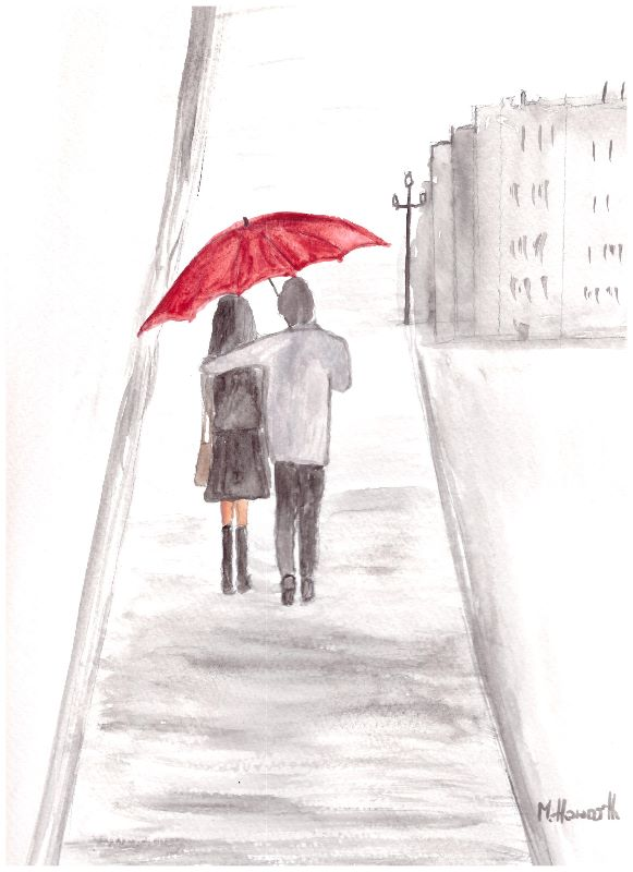 Red umbrella couple