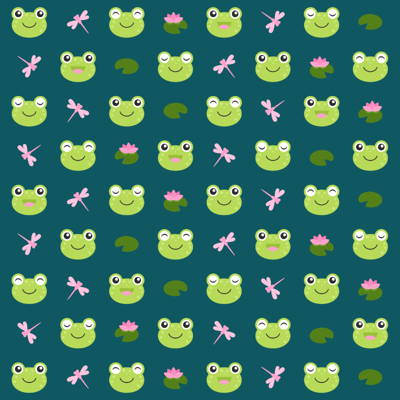 Cute Frog Faces on teal