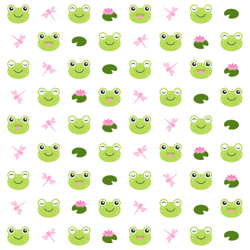 Happy Frog Faces on white