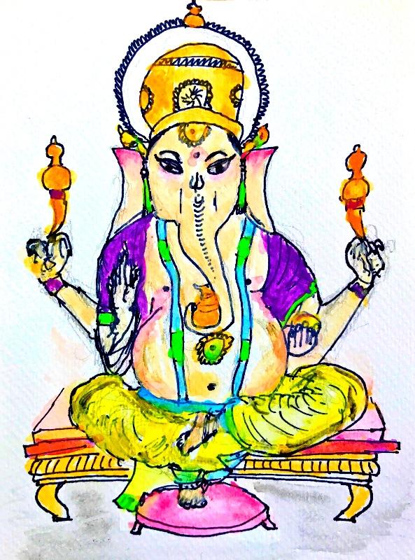Ganesh watercolour art