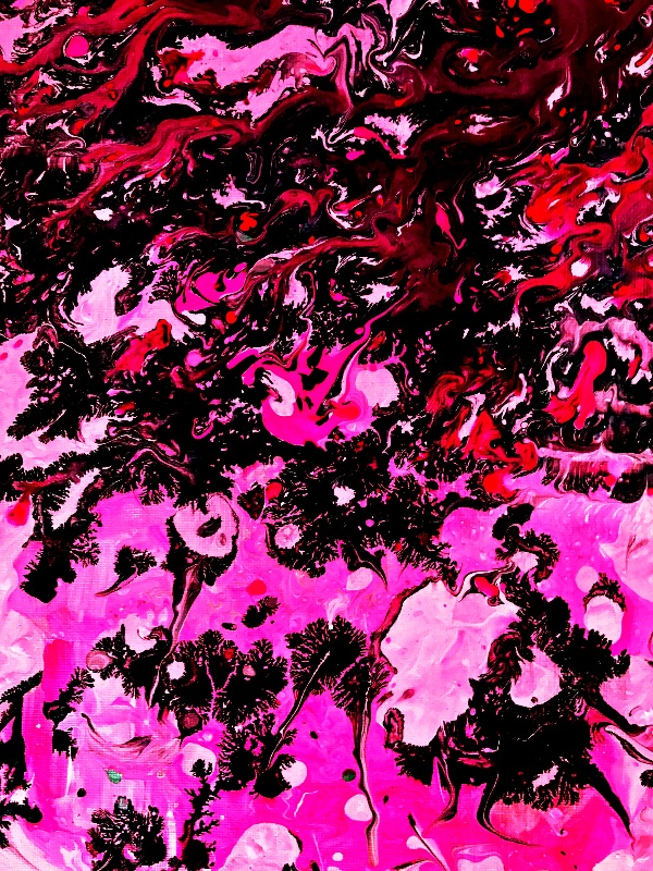 Neon pink abstract art