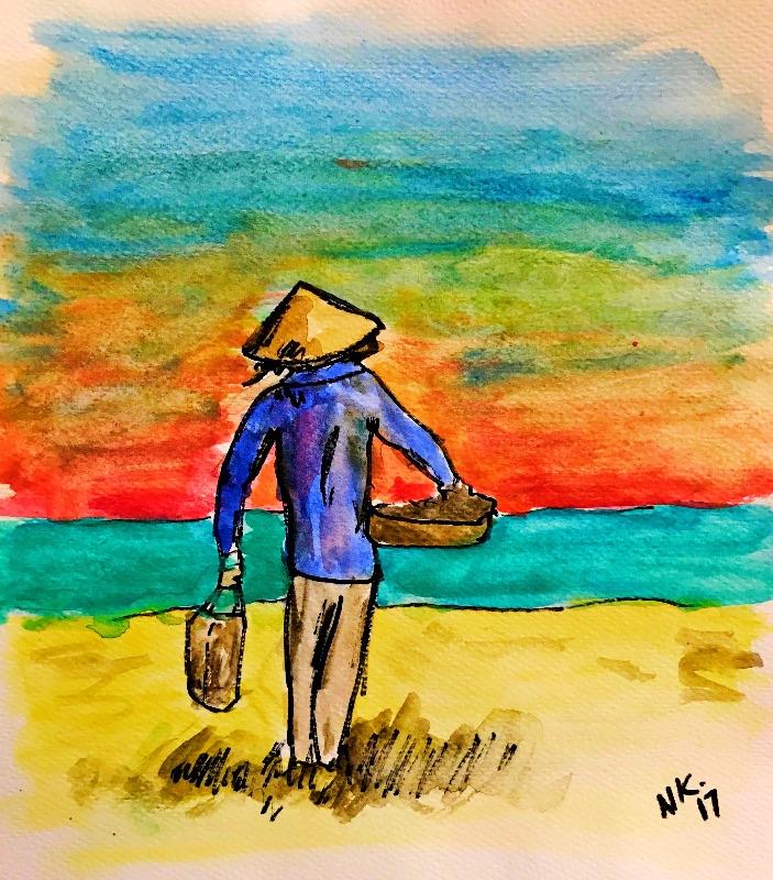 Vietnamese beach seller
