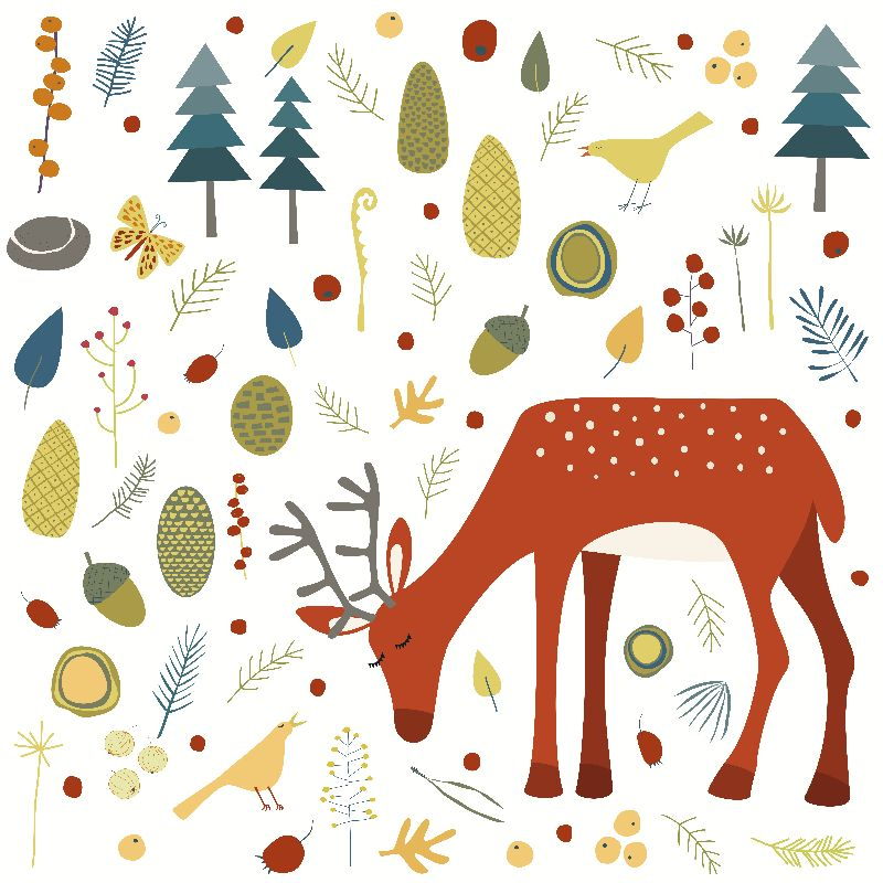 Deer with Woodland Things