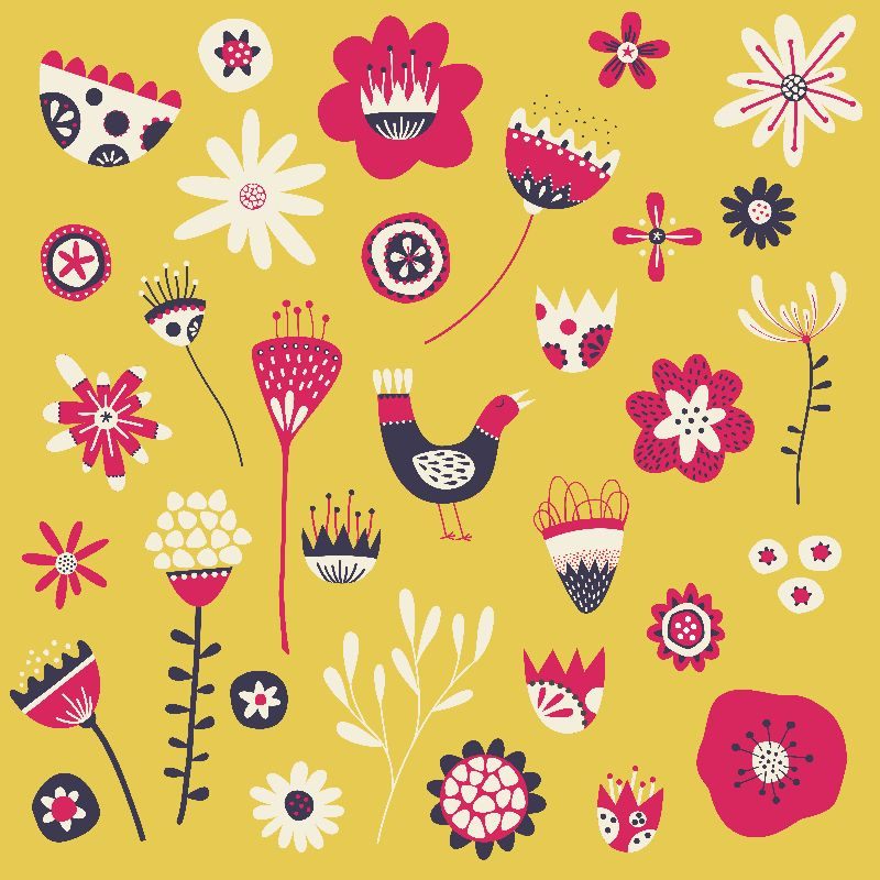 Scandi Birds and Flowers