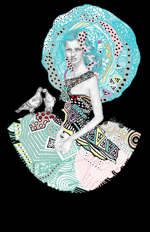 Geometric Floral Girl