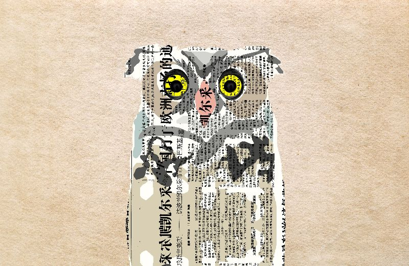Owl Newspaper Collage
