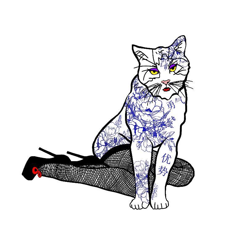 Porcelain Inked Cat