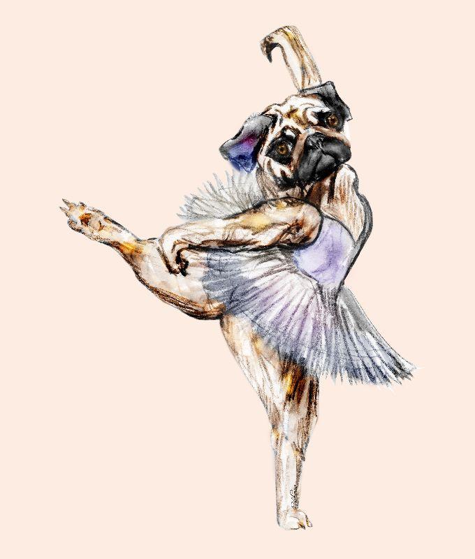 Pug Dog Ballerina