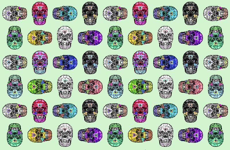 Skull Hearts Green Love