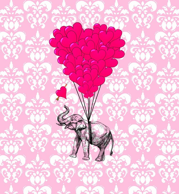 Cute romantic elephant