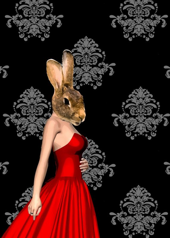 Funny rabbit in red dress