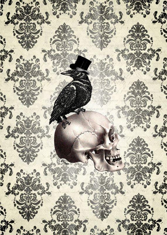 Gothic crow skull damask