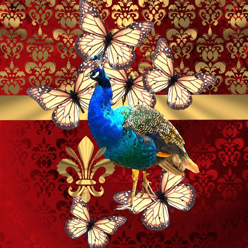Peacock on red damask
