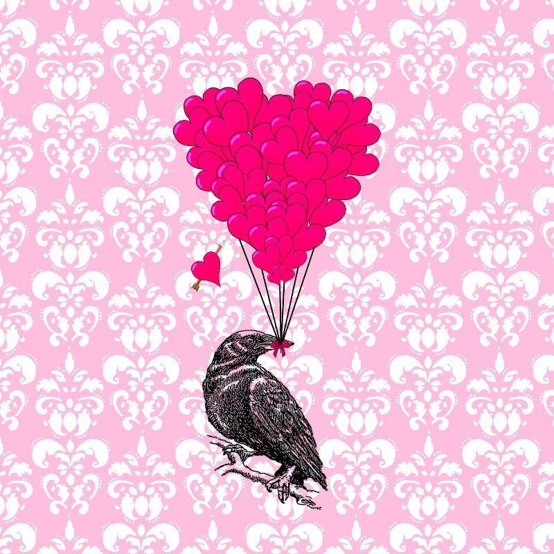 Romantic crow heart