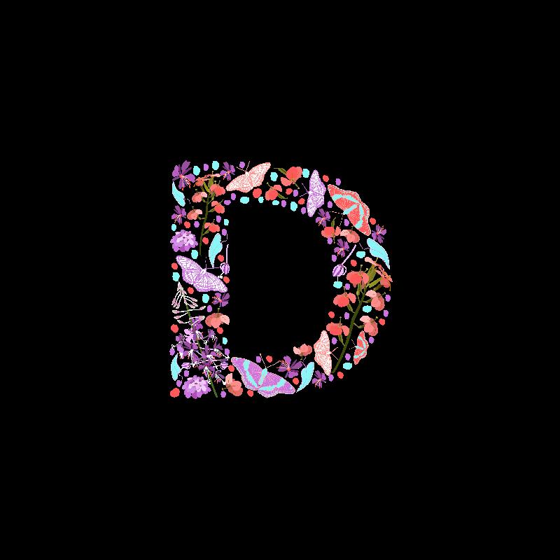 Flowery Letter D