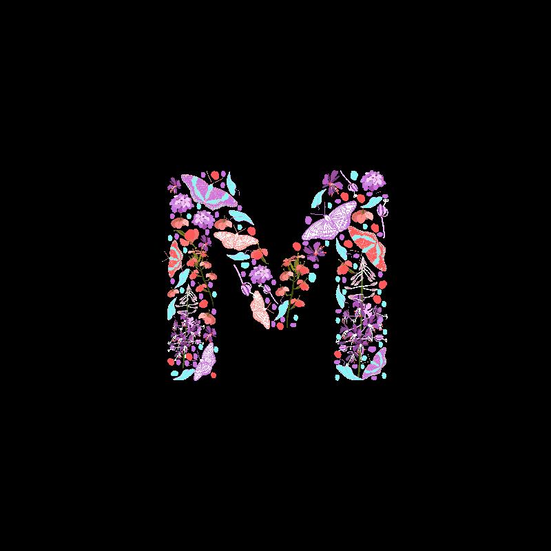 Flowery Letter M