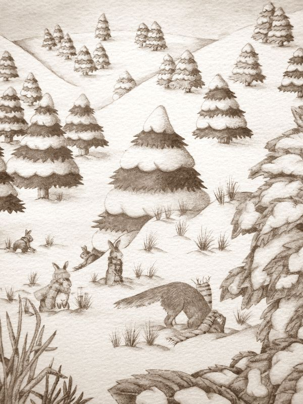 rabbit  fox snow scene