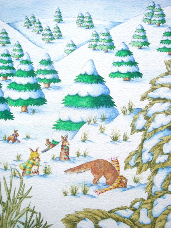 Fox  rabbits snow scene