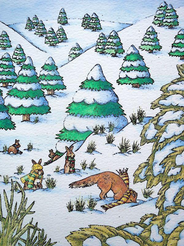 Fox Rabbit Snow Scene
