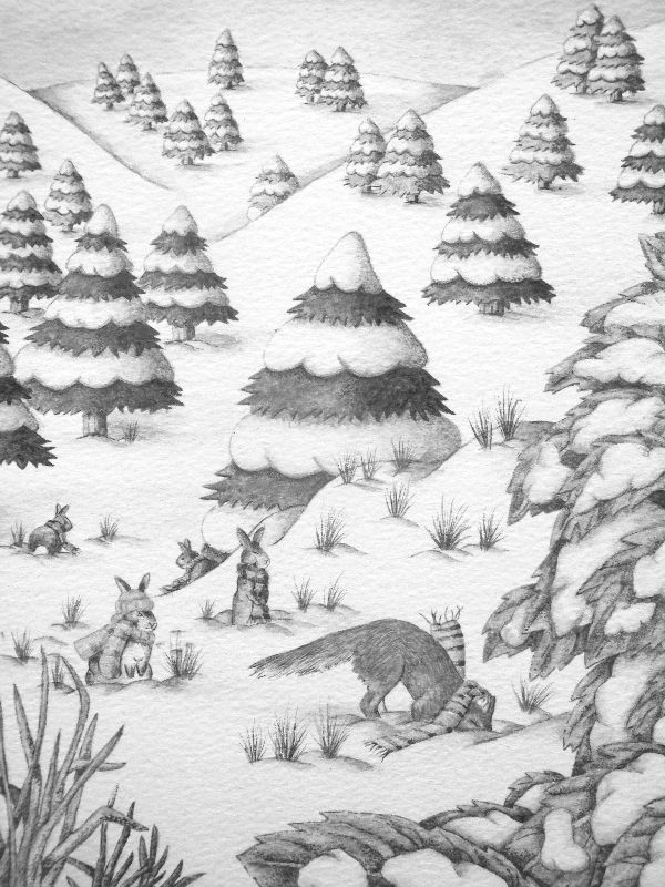 fox  rabbit snow scene