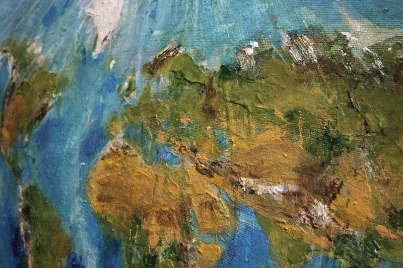 World Map Earth Painting