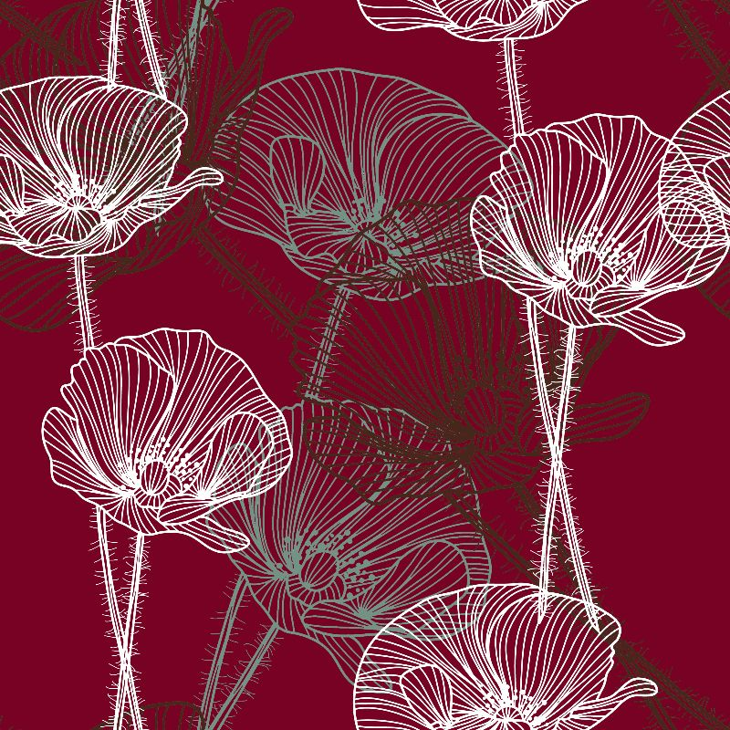 Poppy Outlines on Red