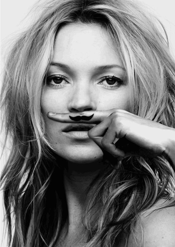 Kate Moss Moustache Life is a Joke