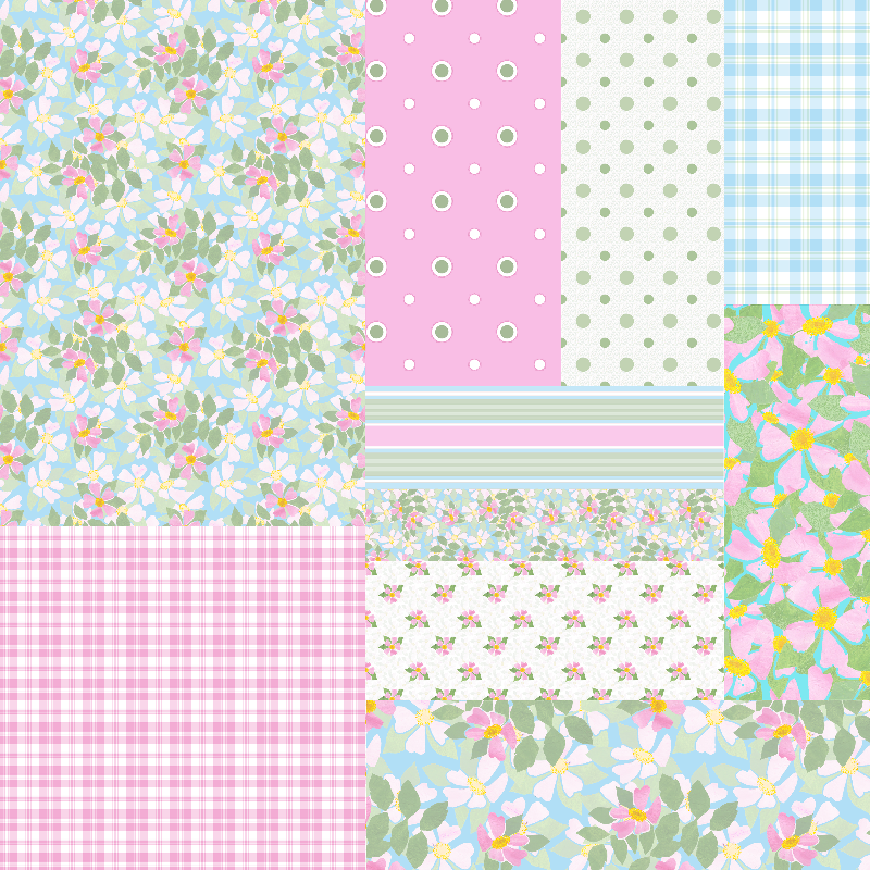 Dog Roses Faux Patchwork