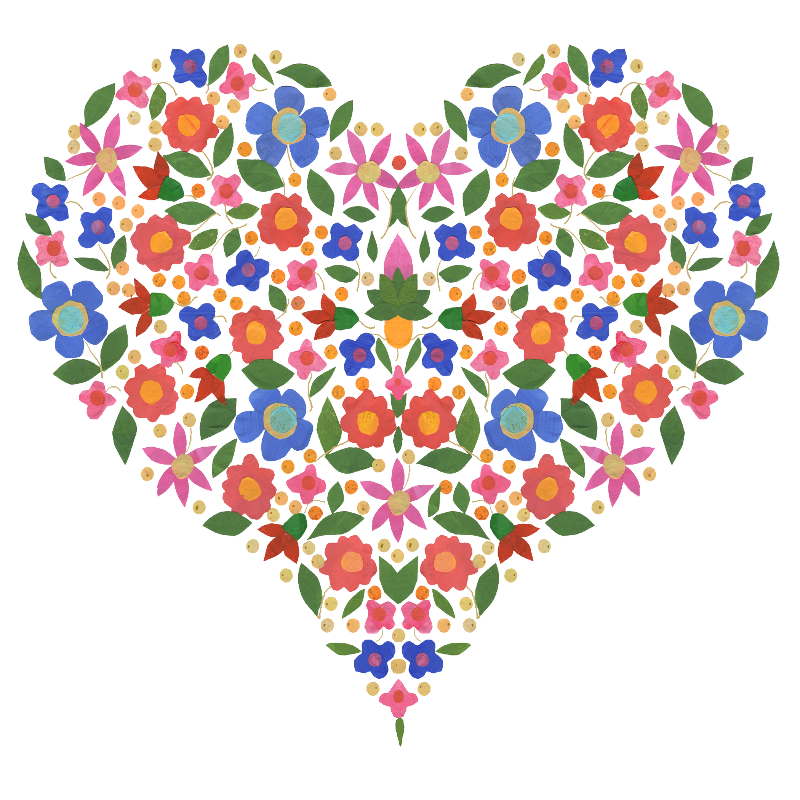 Folk Art Floral Heart