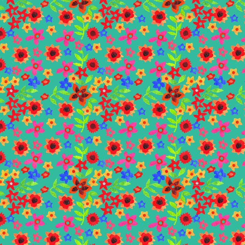 Retro Floral Print  Teal