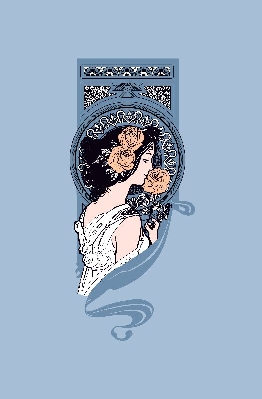 Blue art nouveau girl
