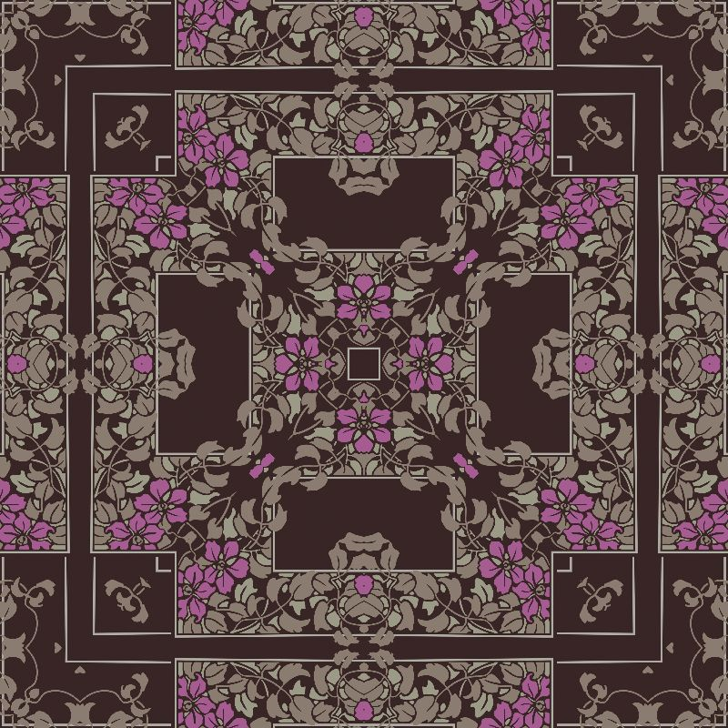 Dark brown floral square