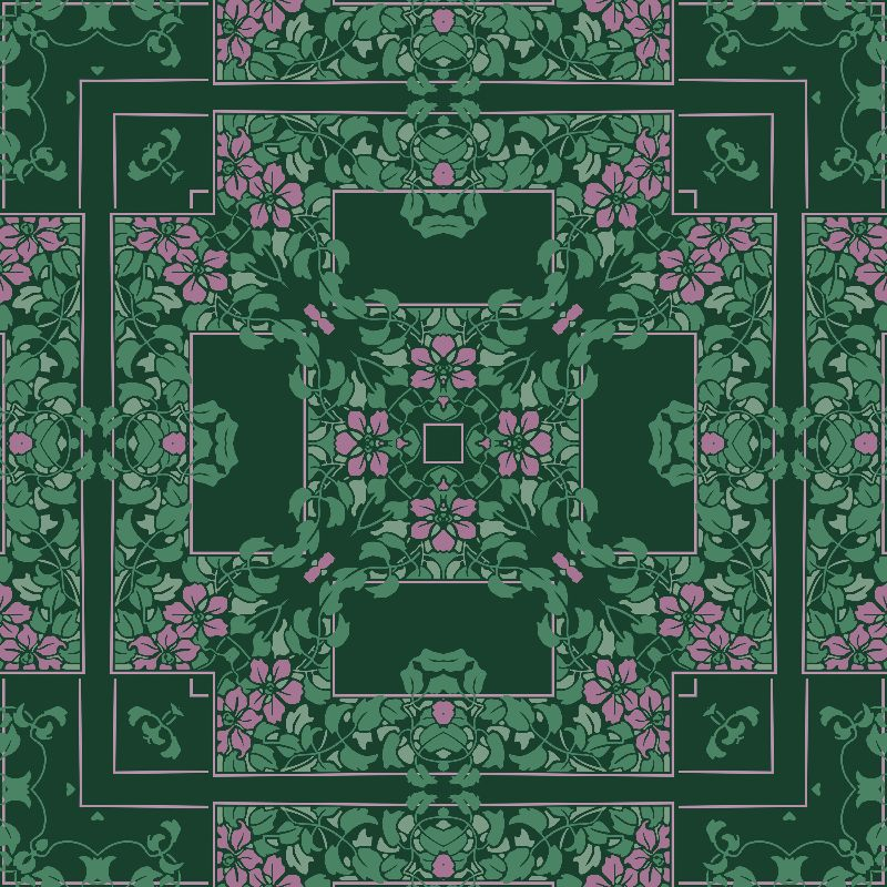 Dark green floral square