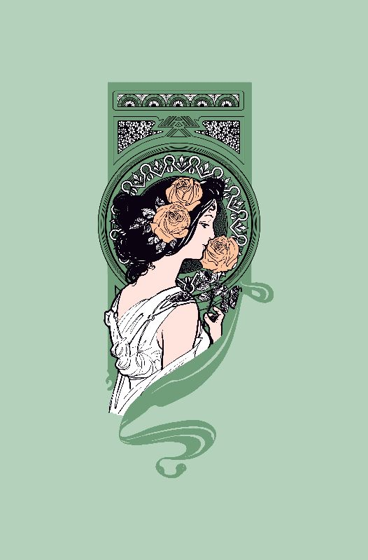 Green art nouveau girl