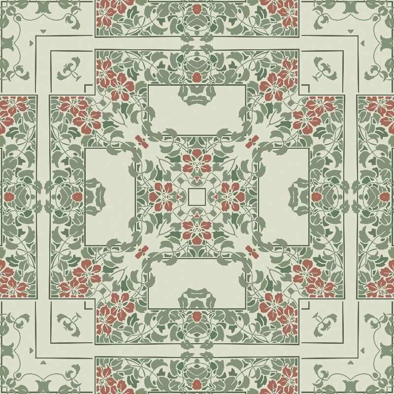 Light green floral square