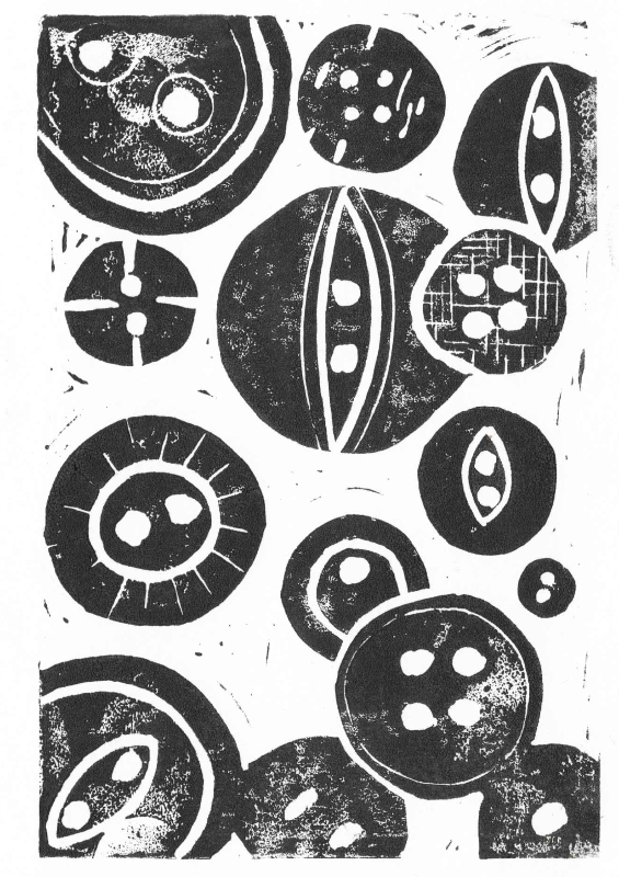 Lino print black buttons