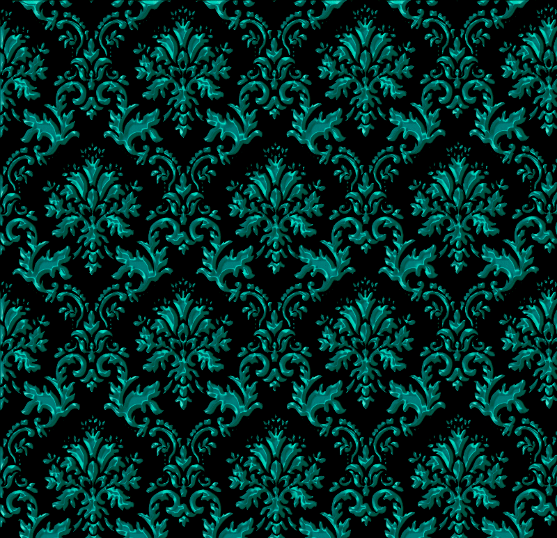 Dark Teal Damask Print