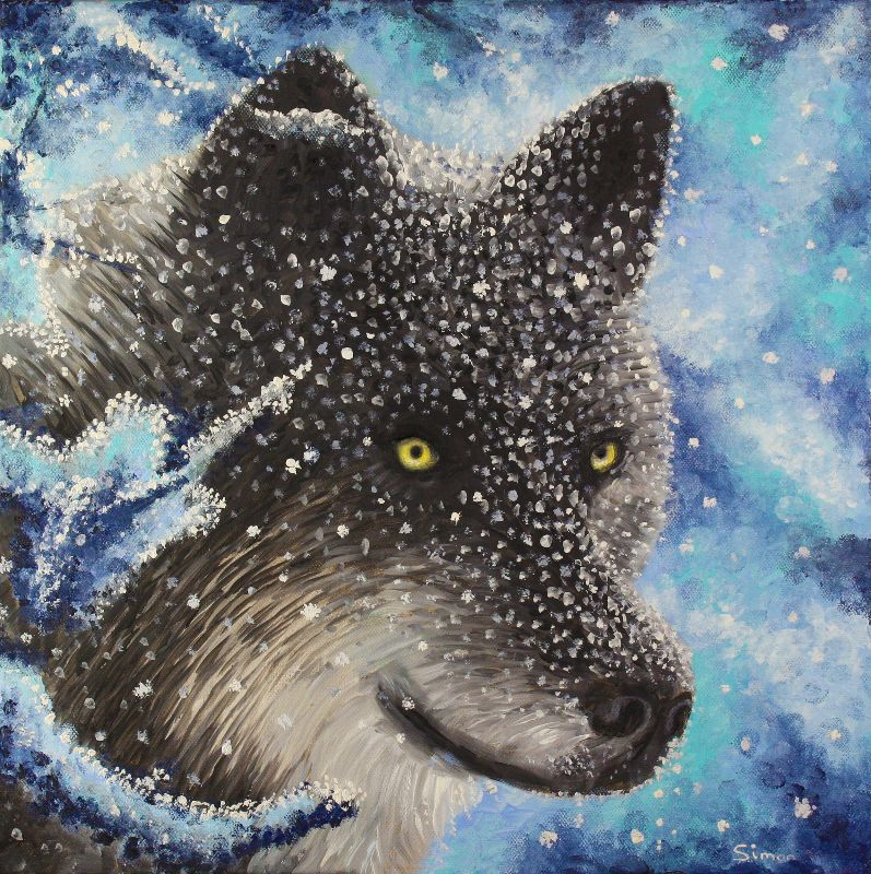 Snow Wolf and Snow Flakes