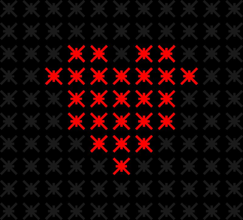 Crossed Heart Line Art 1