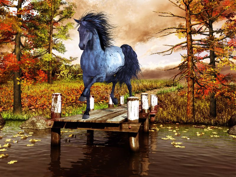 Horse on the lake