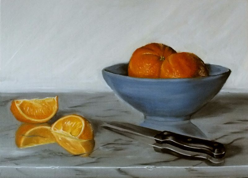Oranges and Blue Bowl