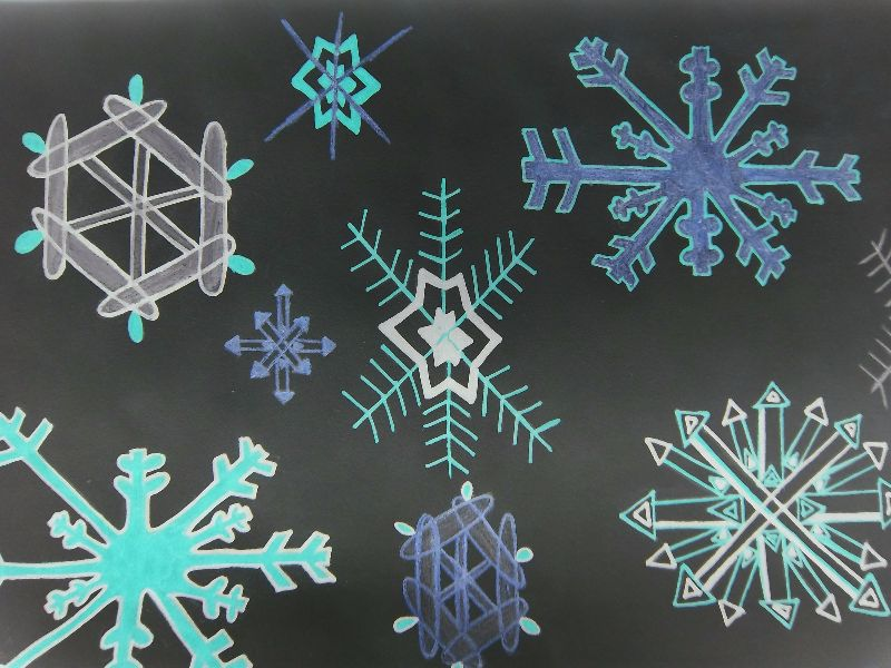 Snowflakes with a black