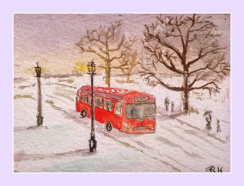 Red bus in the snow