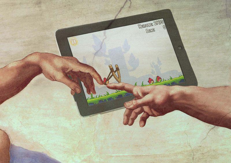 God plays Angry Birds