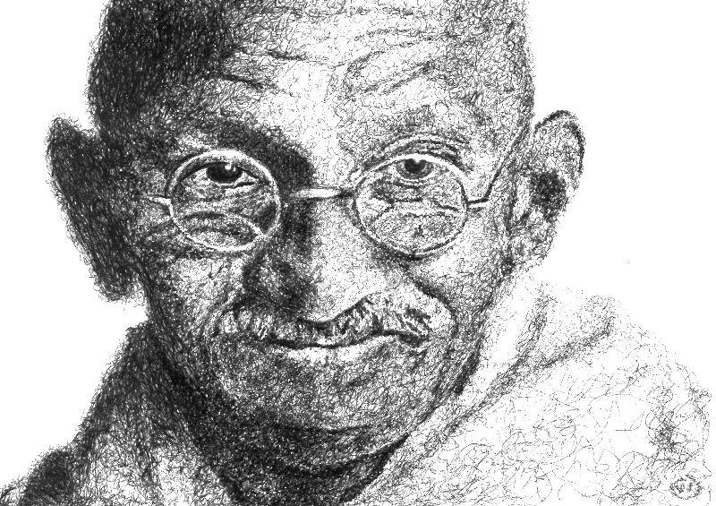 Ghandi  Scribble Style