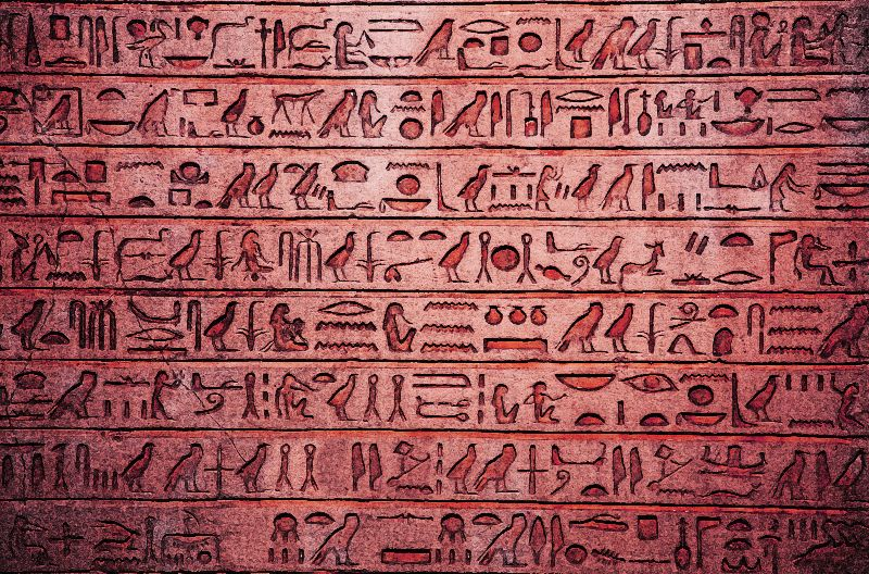 Egyptian Hieroglyphs Red