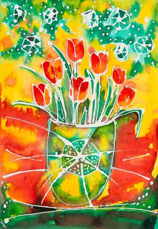 Tulips in a Special Vase